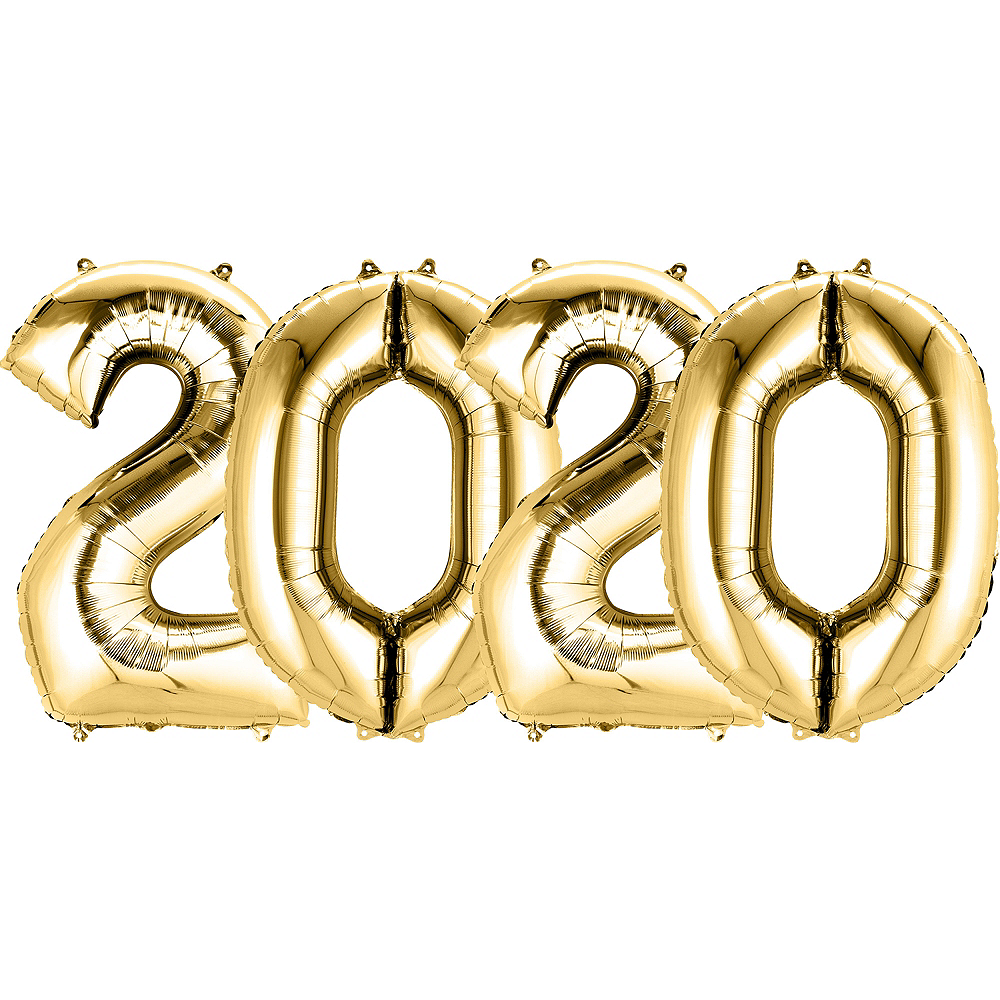 34in Gold 2020 Number Balloon Kit Image #1