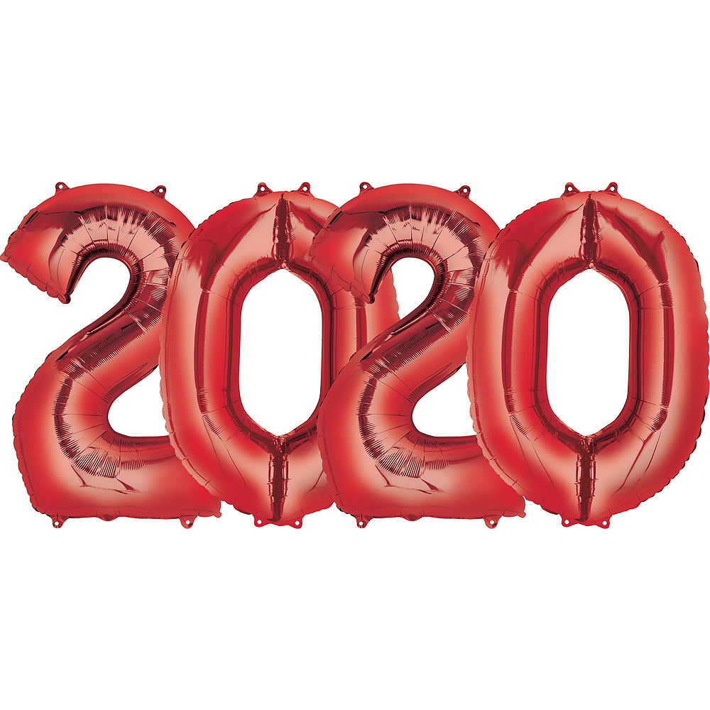 34in Red 2020 Number Balloon Kit Image #1