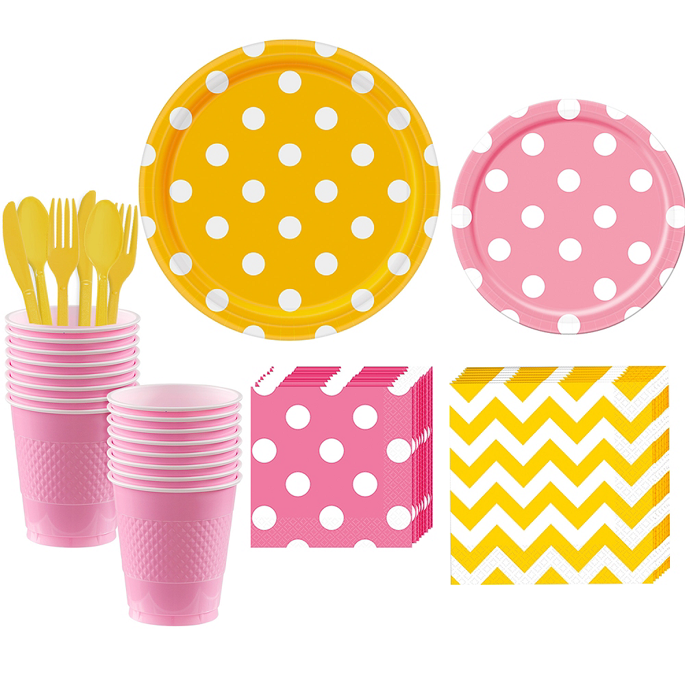 Pink & Yellow Polka Dot & Chevron Paper Tableware Kit for 16 Guests Image #1