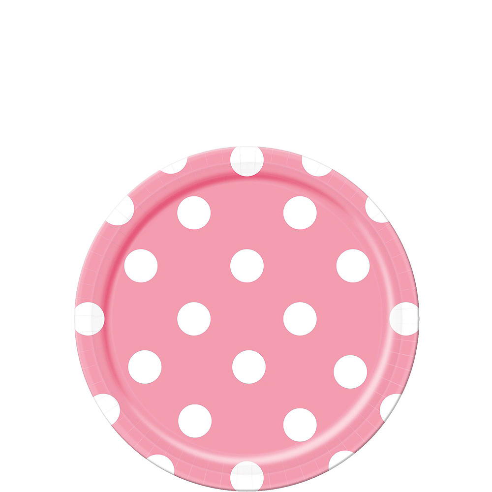 Pink & Yellow Polka Dot & Chevron Paper Tableware Kit for 16 Guests Image #2