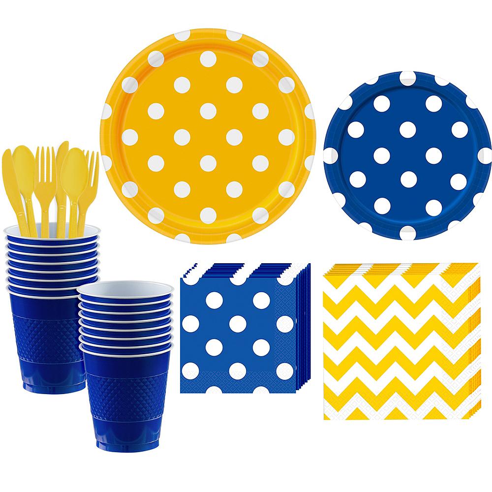 Royal Blue & Yellow Polka Dot & Chevron Paper Tableware Kit for 16 Guests Image #1