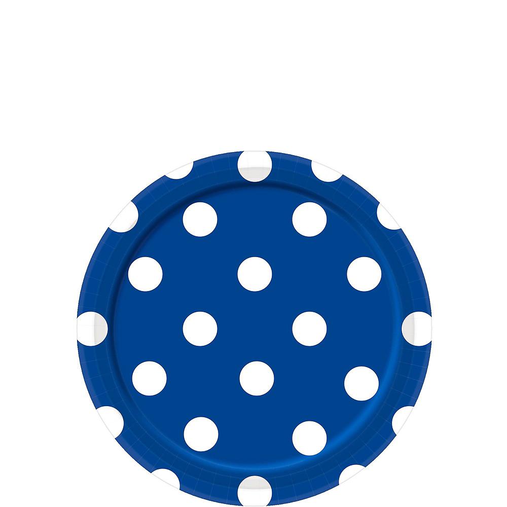 Royal Blue & Yellow Polka Dot & Chevron Paper Tableware Kit for 16 Guests Image #2