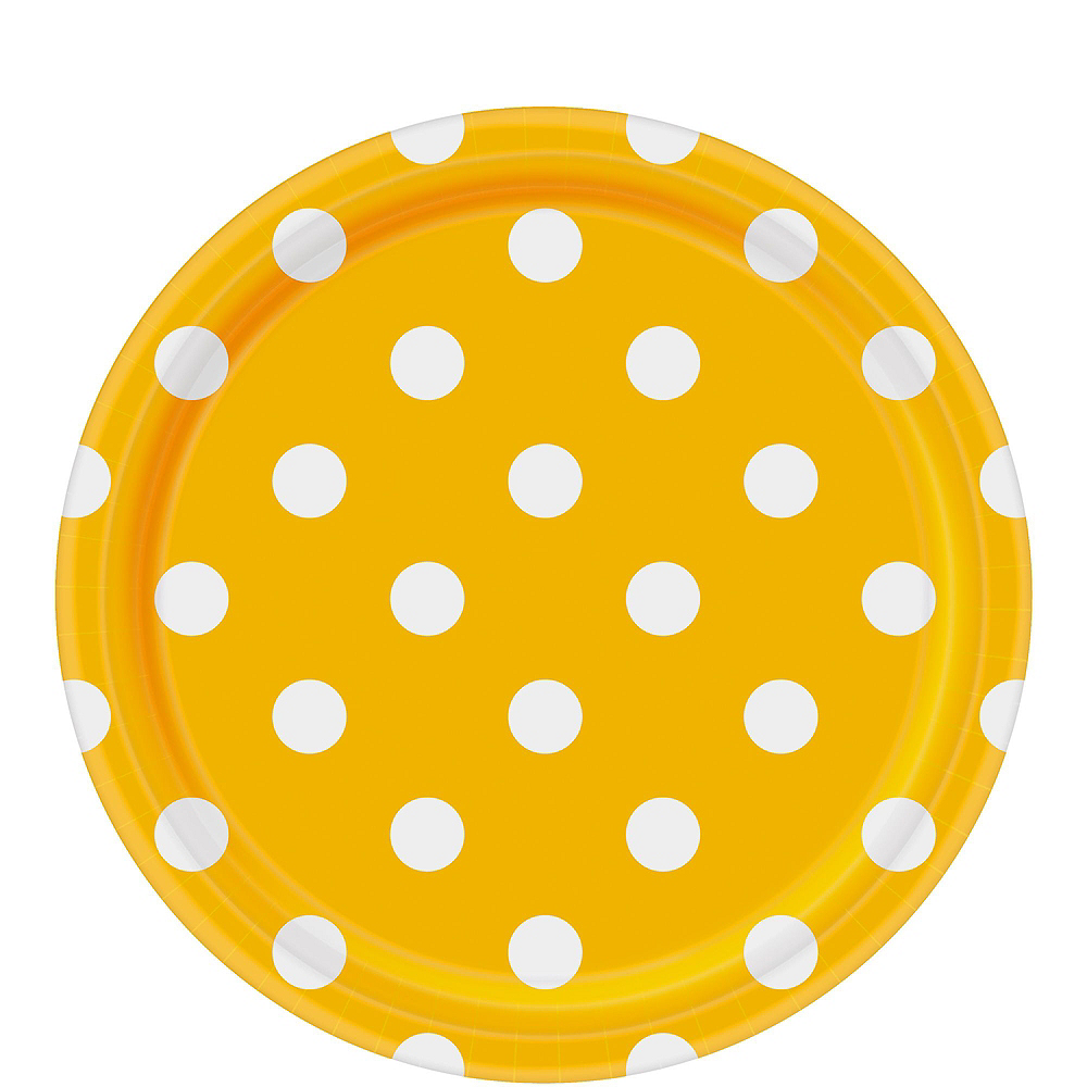 Royal Blue & Yellow Polka Dot & Chevron Paper Tableware Kit for 16 Guests Image #3