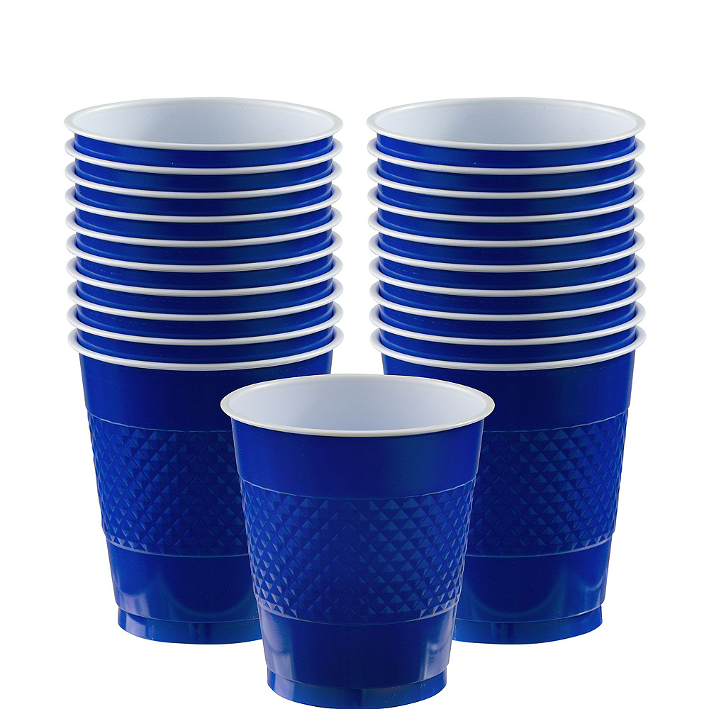 Royal Blue & Yellow Polka Dot & Chevron Paper Tableware Kit for 16 Guests Image #6
