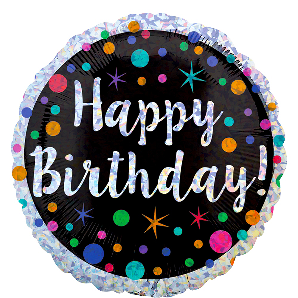 Prismatic Polka Dot Birthday Balloon 17 1/2in Image #1