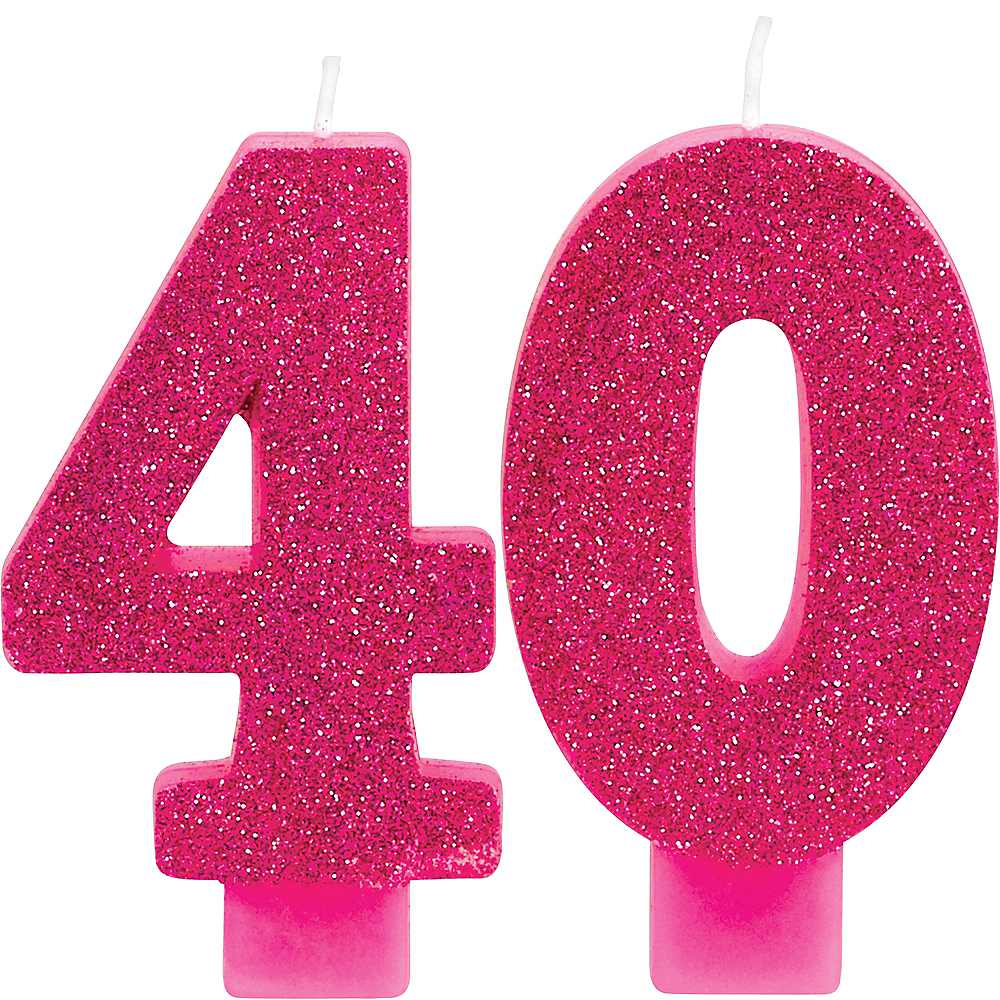 Glitter Pink Number 40 Birthday Candles 2ct Image 1