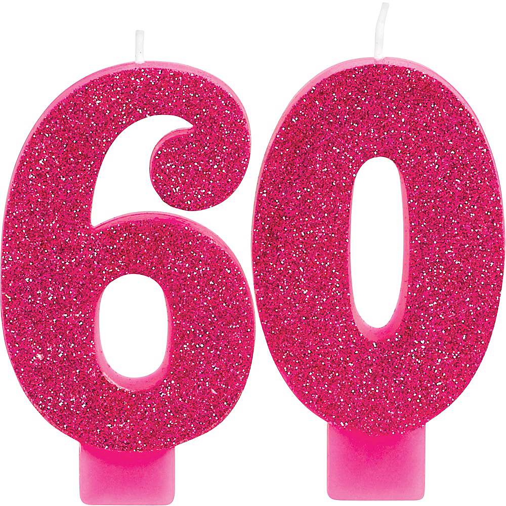Glitter Pink Number 60 Birthday Candles 2ct Image 1
