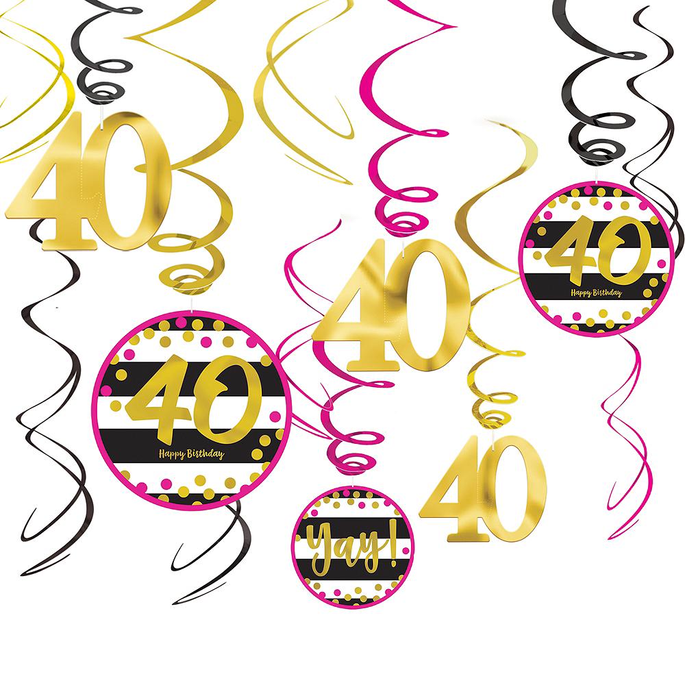 Pink Gold 40th Birthday Swirl Decorations 12ct Image 1
