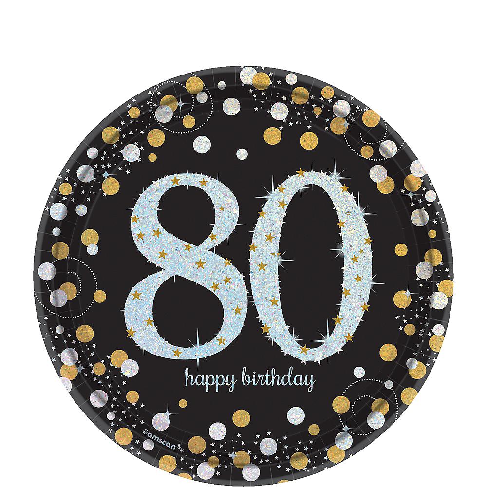 Prismatic 80th Birthday Dessert Plates 8ct - Sparkling Celebration Image #1