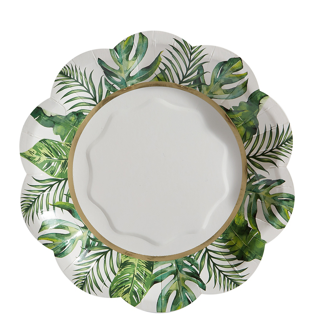 Tropical Wedding Scalloped Dessert Plates 8ct Image #1
