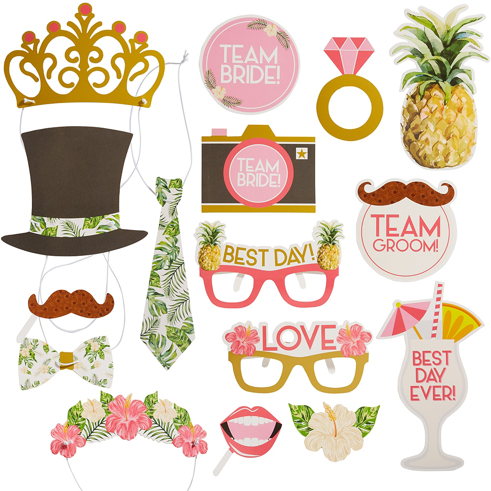 Tropical Wedding Photo Booth Props 16ct