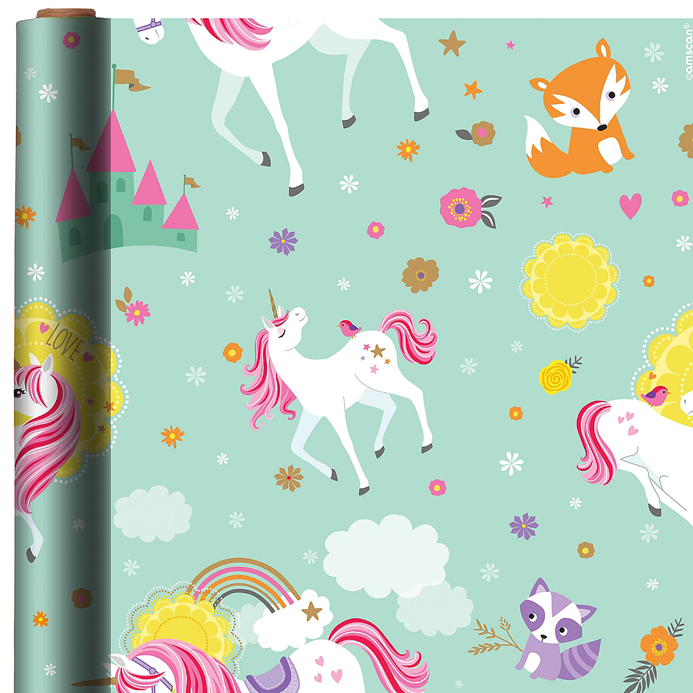magical unicorn gift wrap 5ft x 30in party city