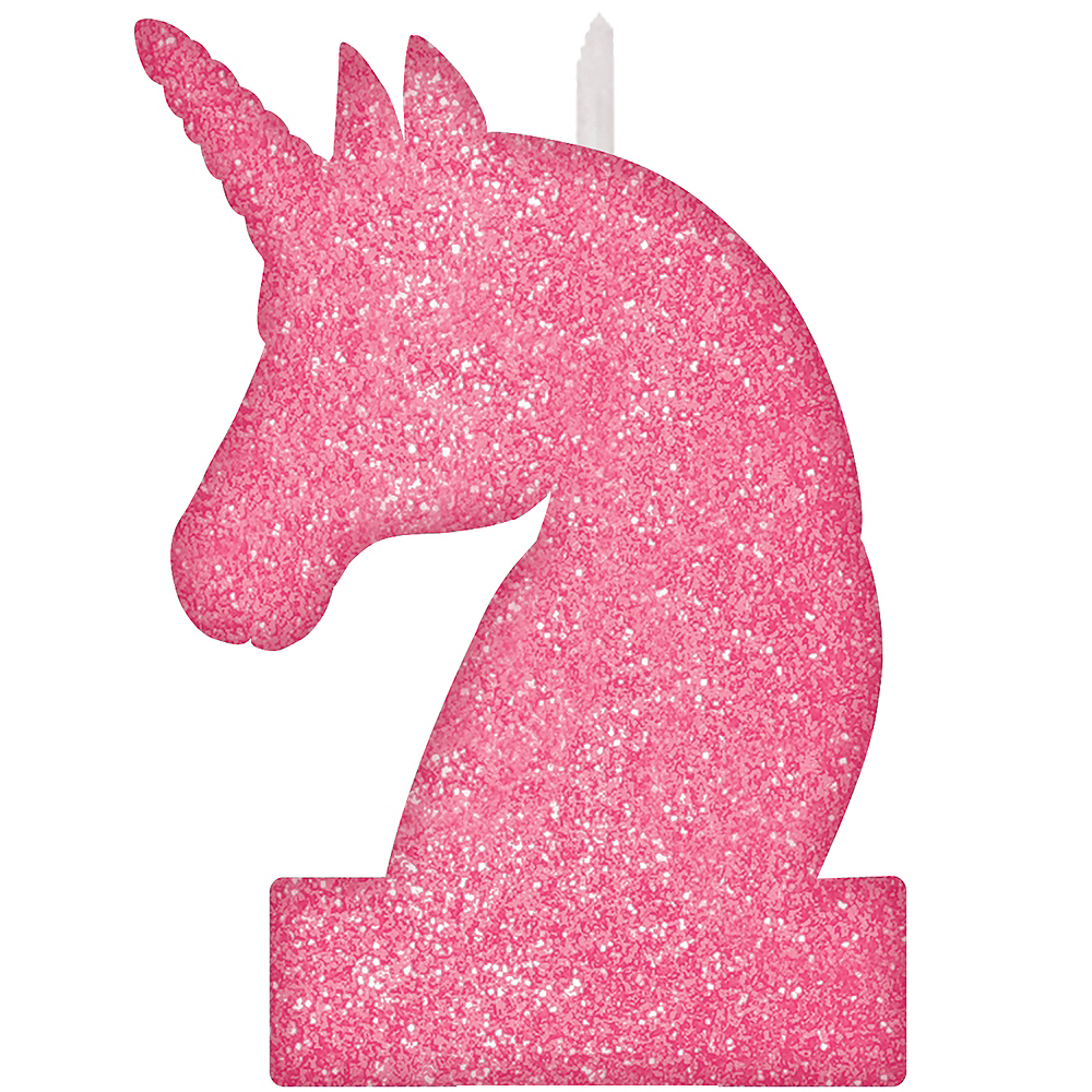 Glitter Magical Unicorn Birthday Candle Image 1