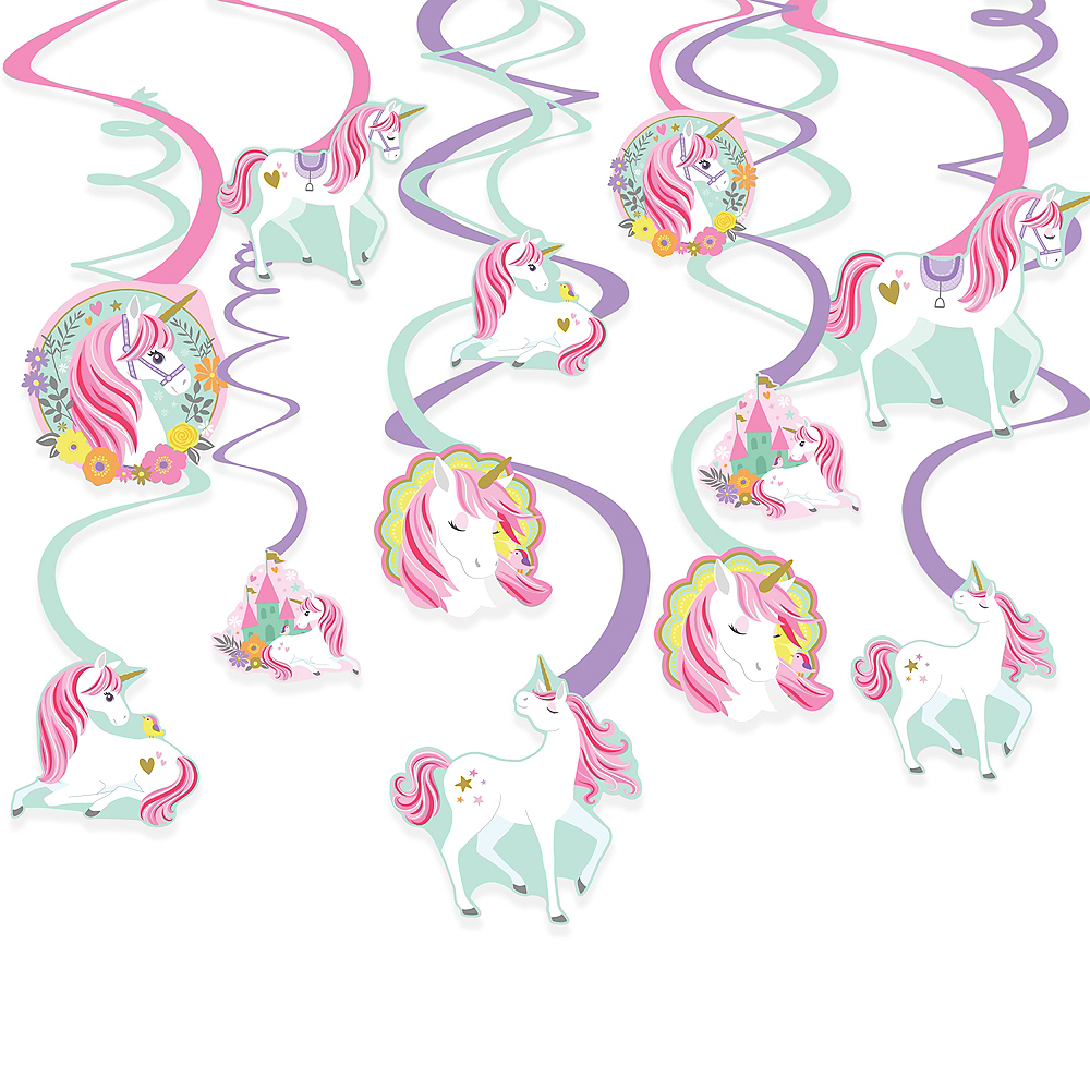 Nav Item for Magical Unicorn Swirl Decorations 12ct Image #1