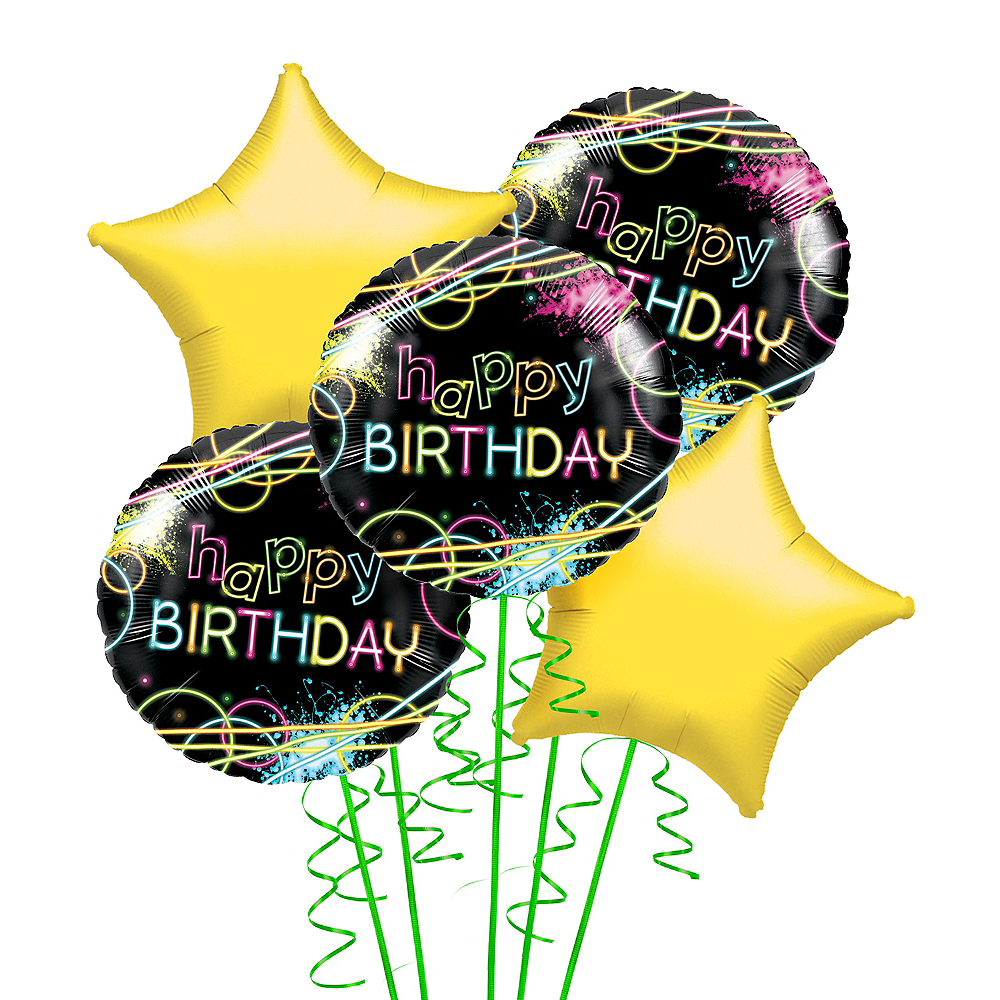Neon Party Balloon Bouquet Image #1