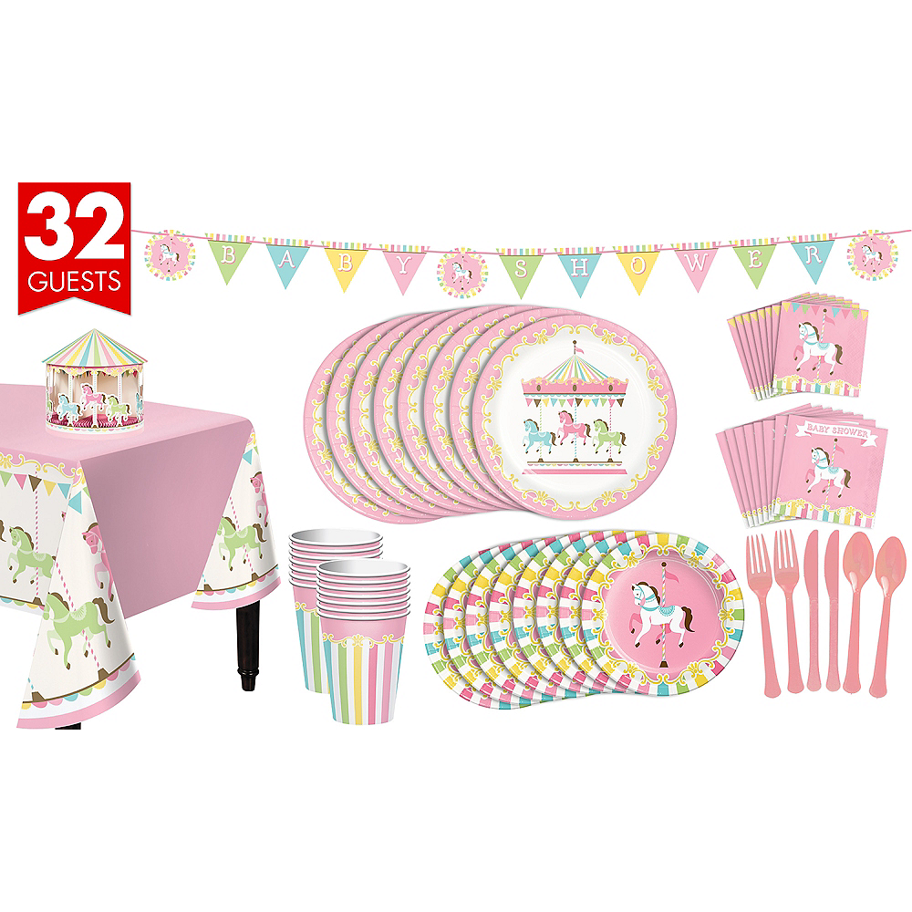 Pink Carousel Baby Shower Kit for 32 Guests Image #1