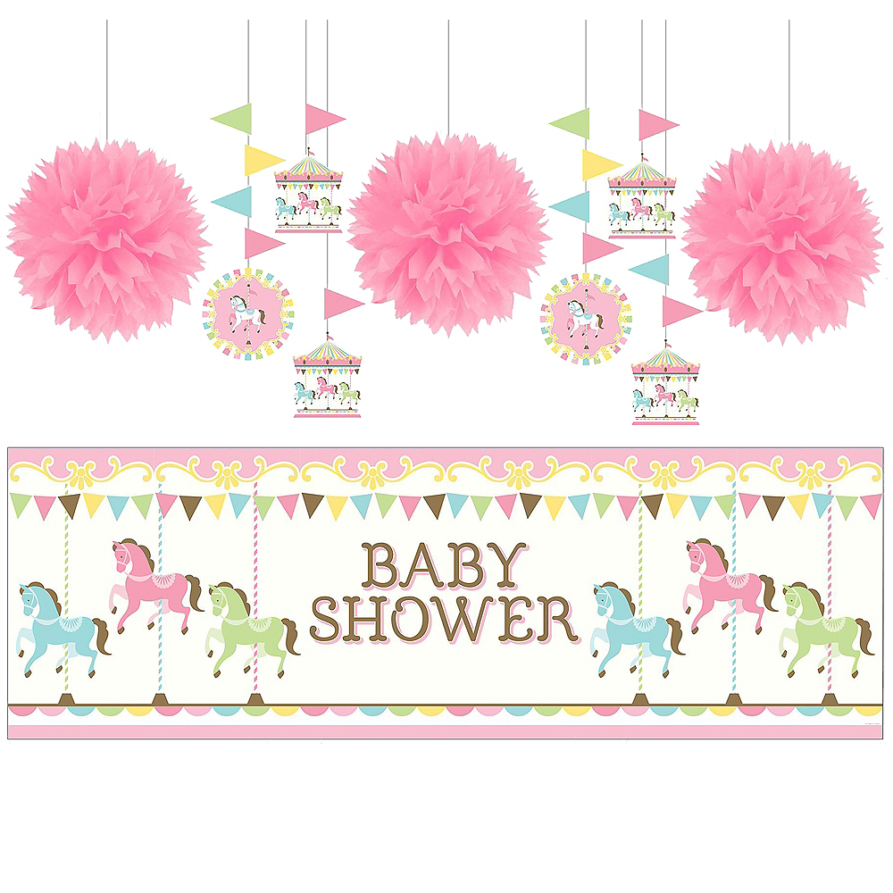 Pink Carousel Baby Shower Decorating Kit Image #1