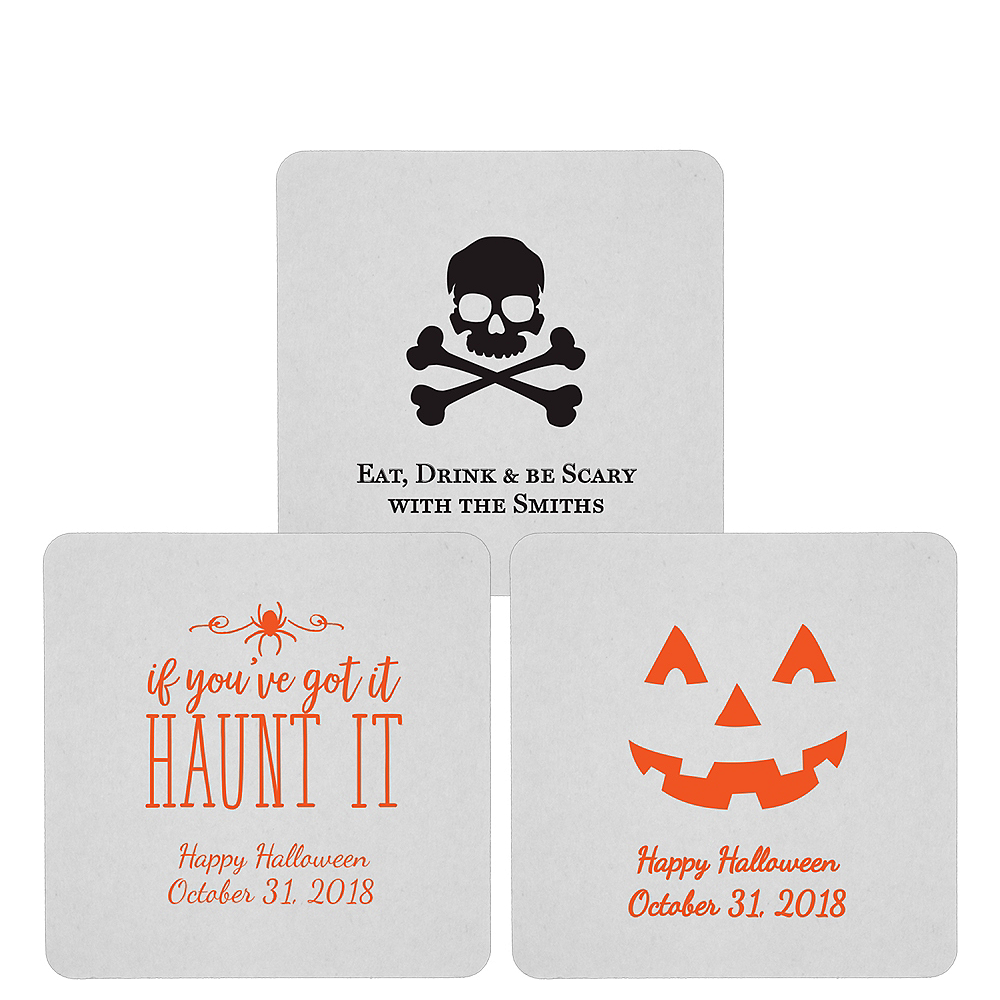 Personalized Halloween 80pt Square Coasters Image #1