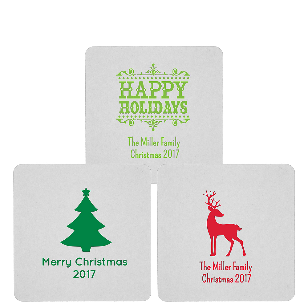 Personalized Christmas 80pt Square Coasters Image #1