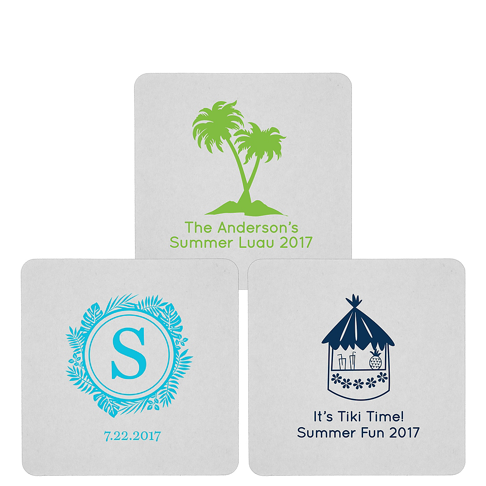 Nav Item for Personalized Luau 80pt Square Coasters Image #1