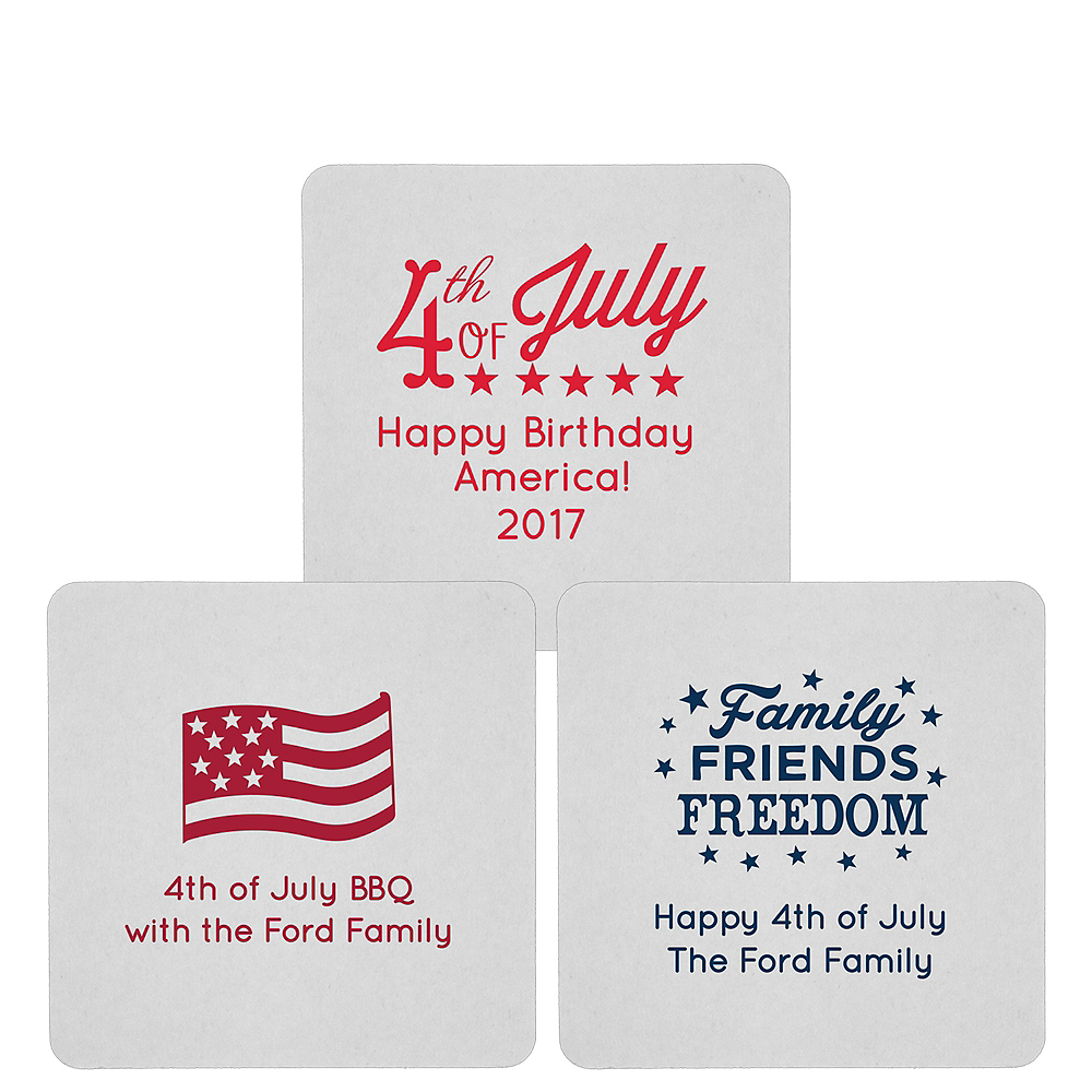 Personalized 4th of July 80pt Square Coasters Image #1