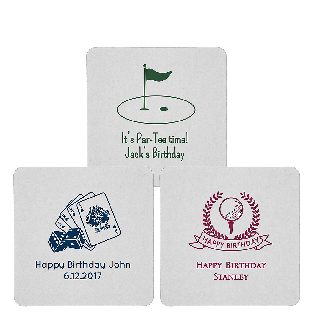 Personalized Milestone Birthday 80pt Square Coasters Image #1