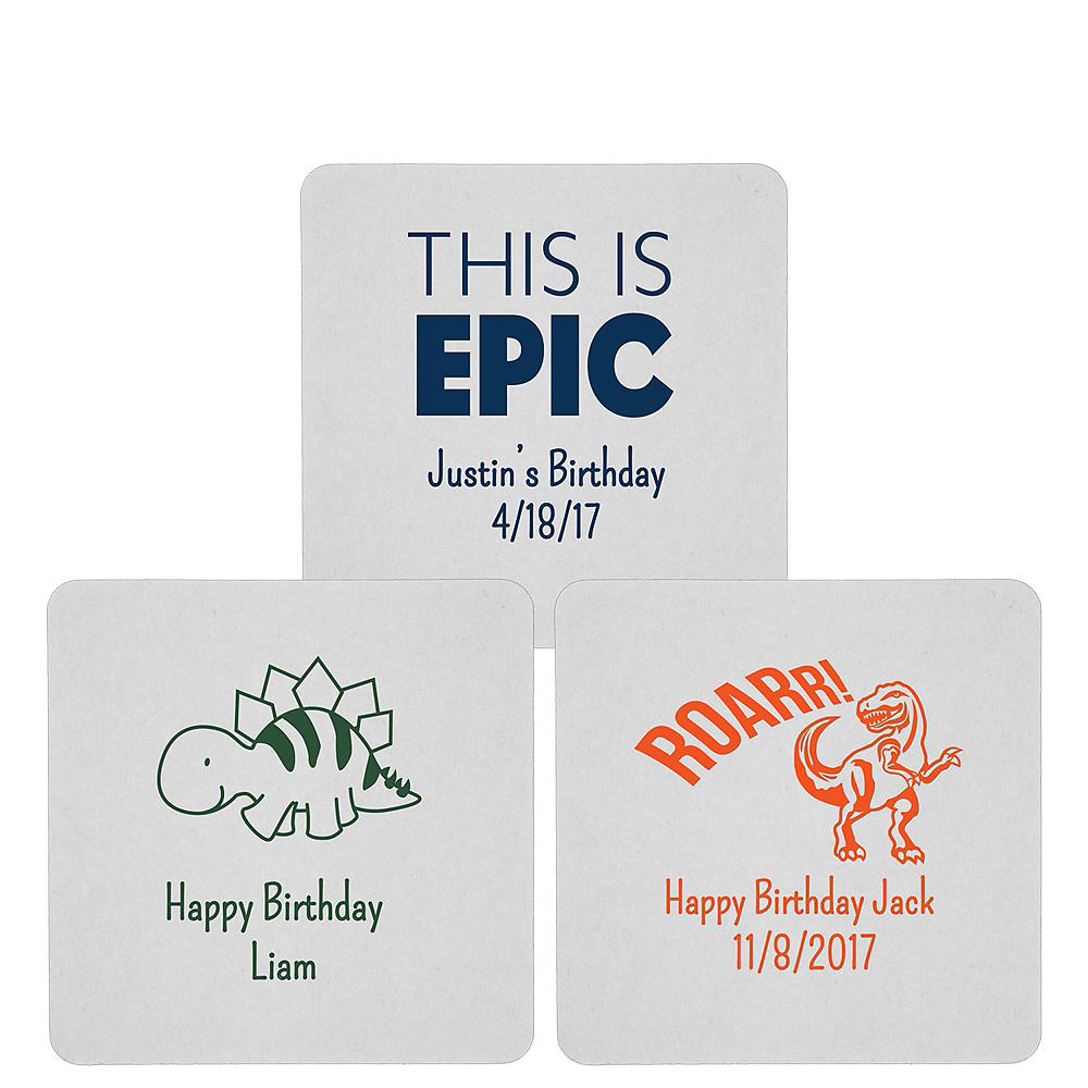 Personalized Boys Birthday 80pt Square Coasters Image #1