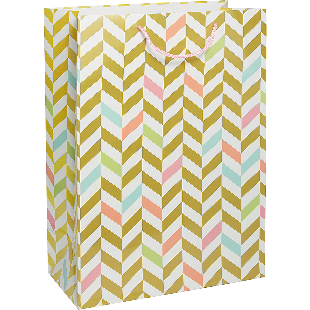 Pastel & Gold Herringbone Gift Bag Image #1