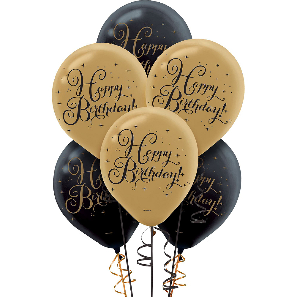 White & Gold Striped Happy Birthday Decorating Kit with Balloons Image #5