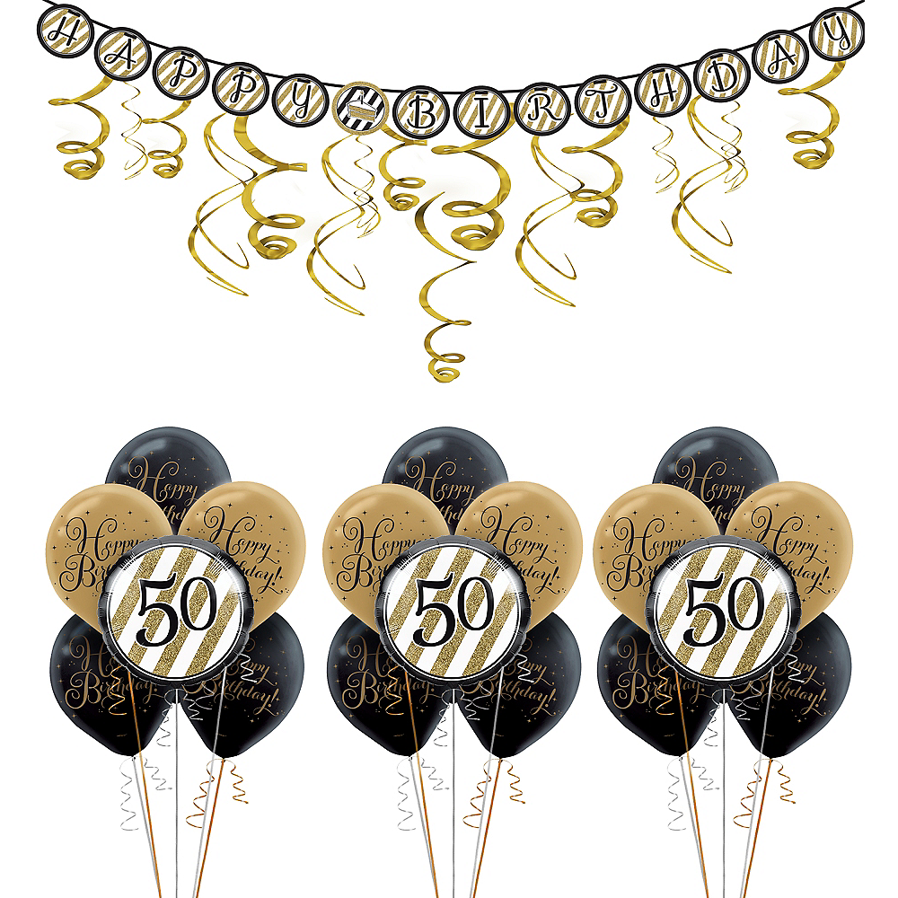 Nav Item For White Gold Striped 50th Birthday Decorating Kit With Balloons Image