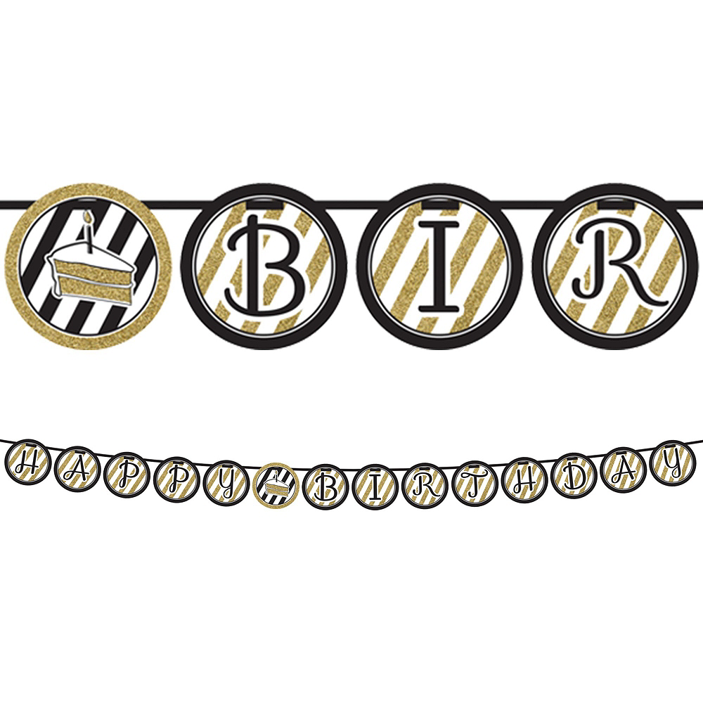 White & Gold Striped 50th Birthday Decorating Kit with Balloons Image #4