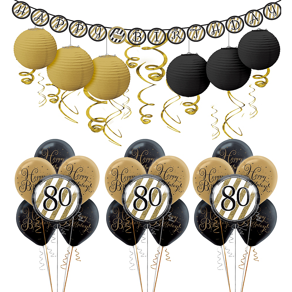 White & Gold 80th Birthday Decorating Kit with Balloons Image #1