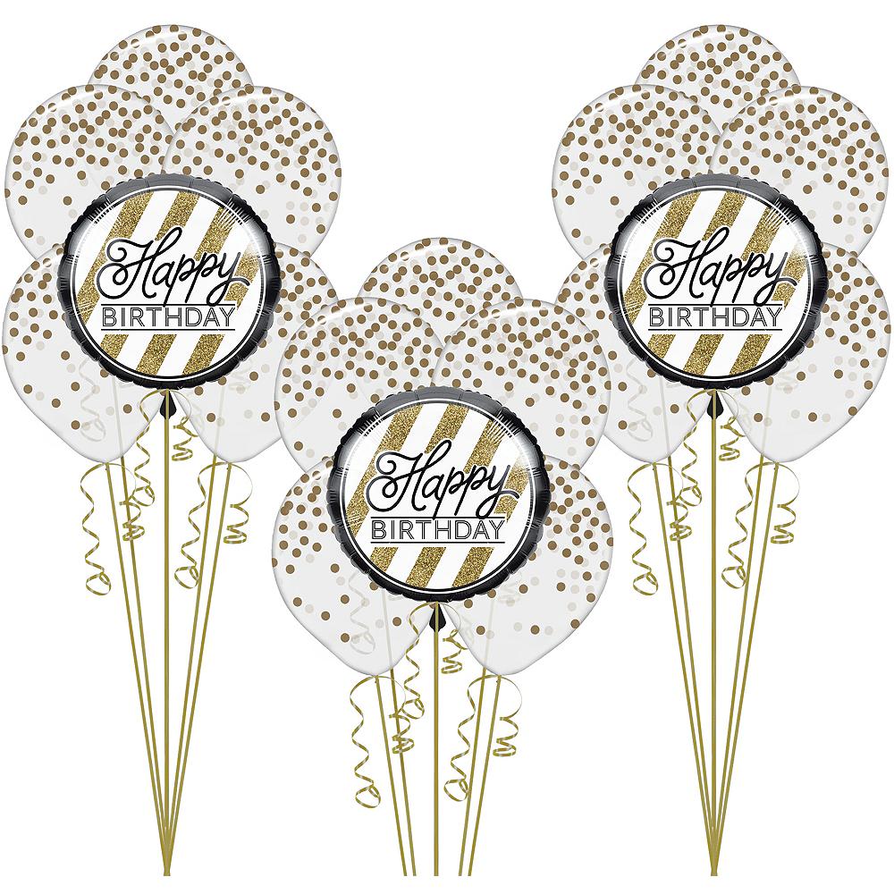 White & Gold Happy Birthday Balloon Kit Image #1