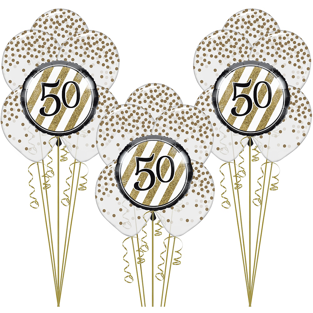 White & Gold 50th Happy Birthday Balloon Kit Image #1