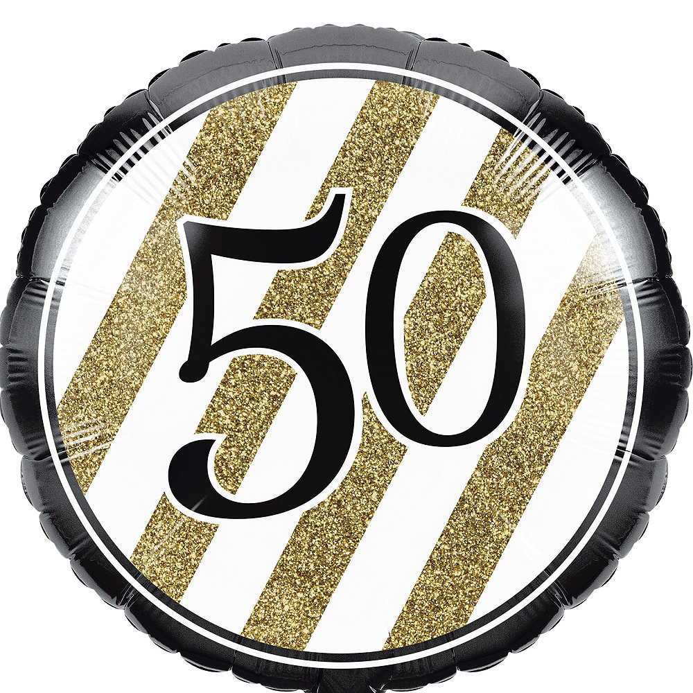 White & Gold 50th Happy Birthday Balloon Kit Image #3