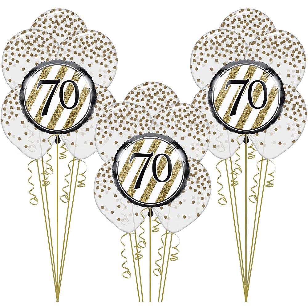 White & Gold 70th Happy Birthday Balloon Kit Image #1