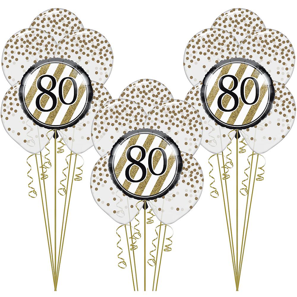 White & Gold 80th Happy Birthday Balloon Kit Image #1