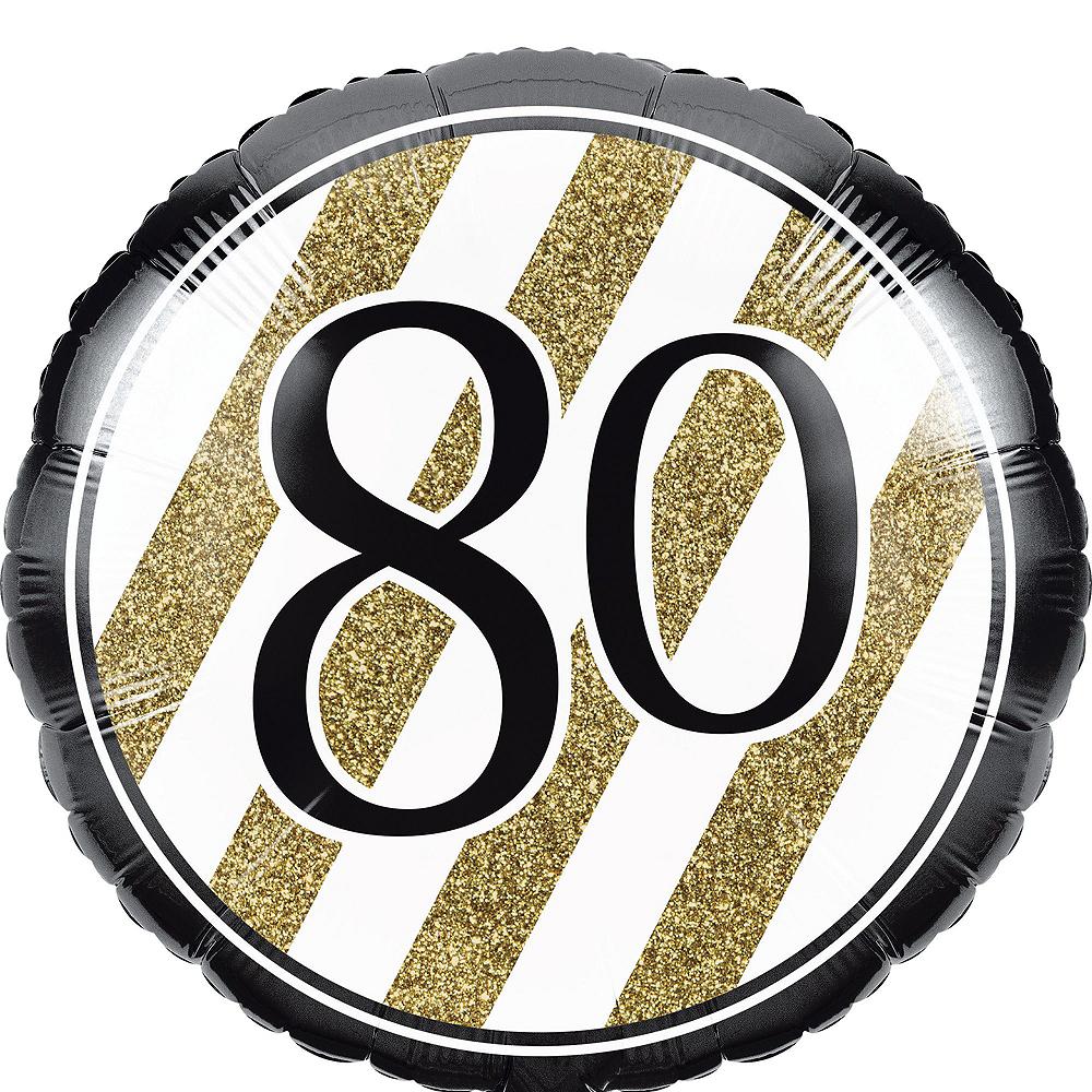 White & Gold 80th Happy Birthday Balloon Kit Image #5