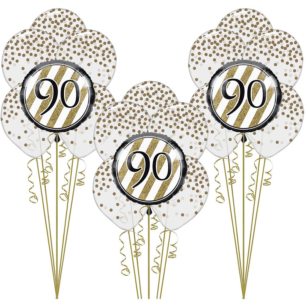 White & Gold 90th Happy Birthday Balloon Kit Image #1