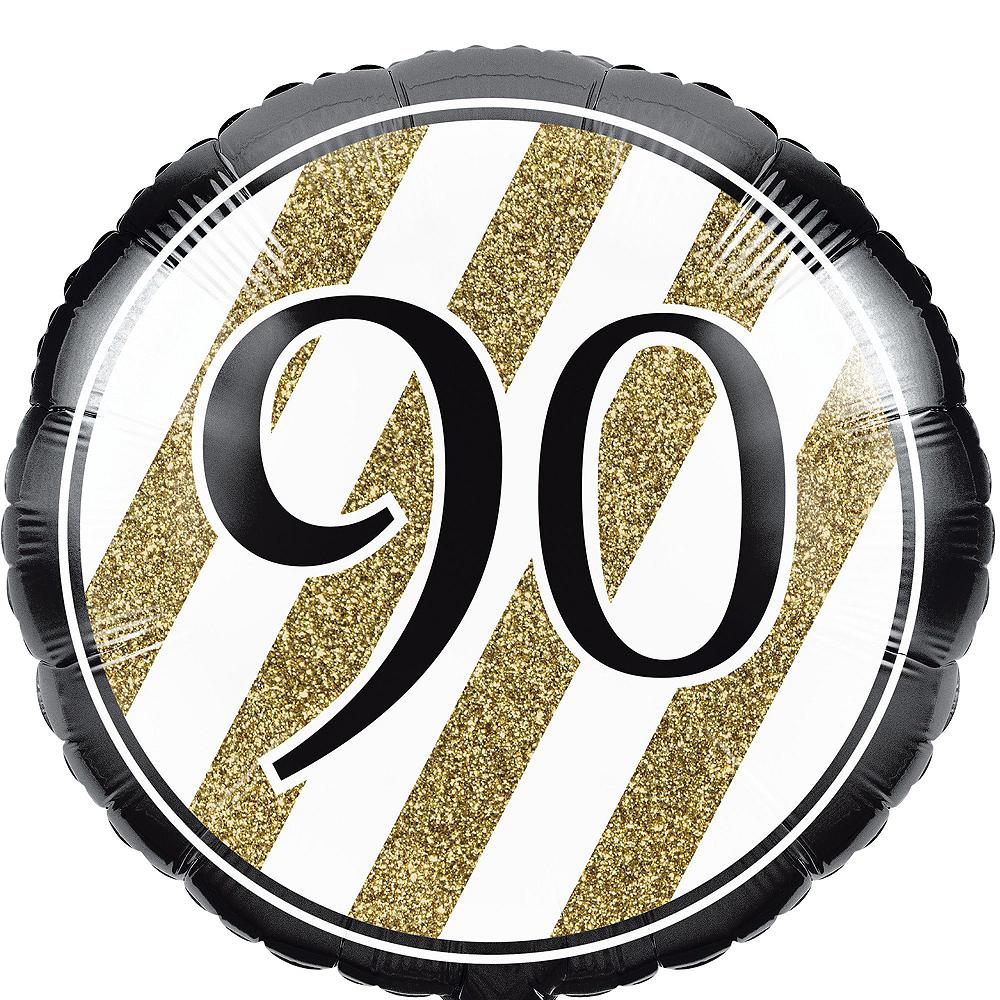 White & Gold 90th Happy Birthday Balloon Kit Image #3