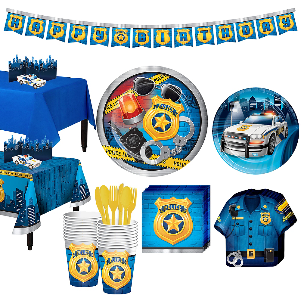 Police Tableware Party Kit for 16 Guests Image #1
