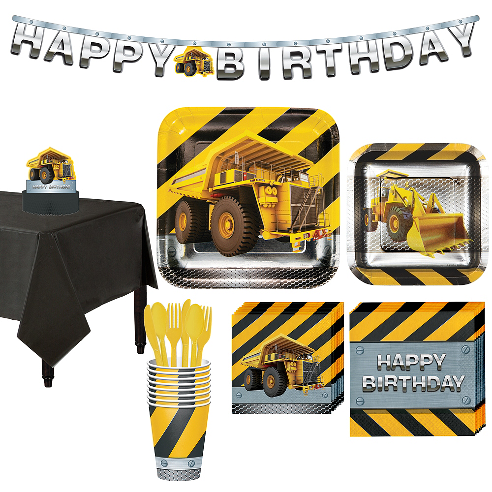 Construction Zone Tableware Party Kit for 8 Guests Image #1