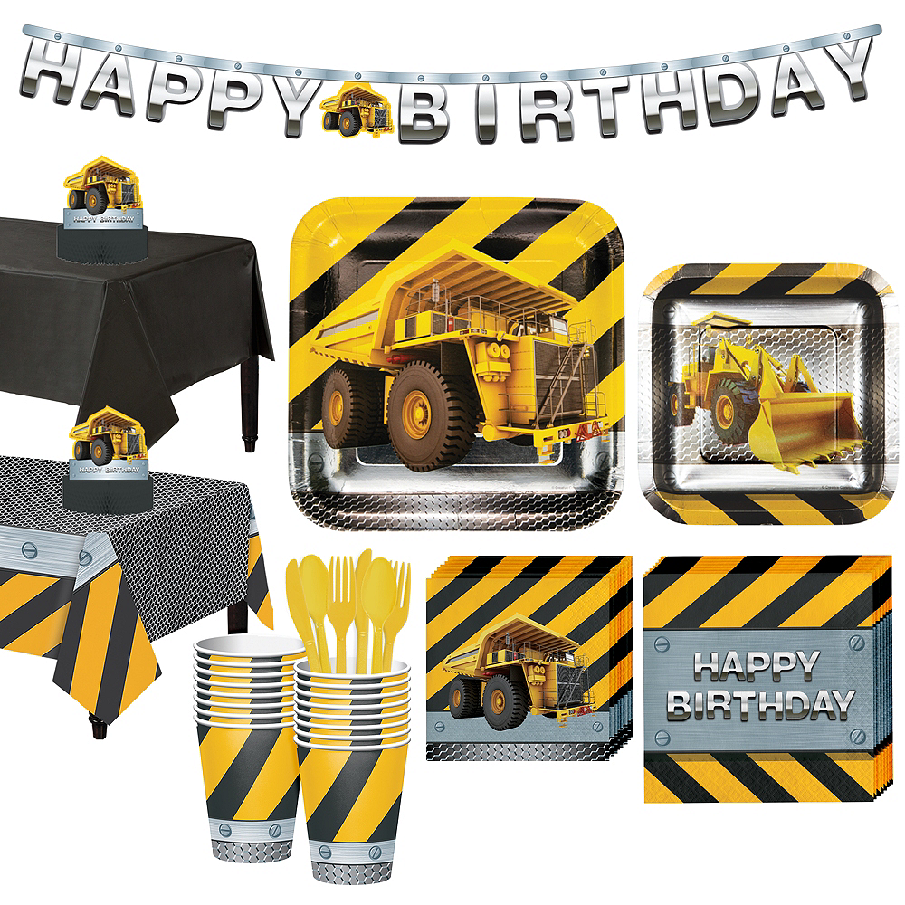 Construction Zone Tableware Party Kit for 16 Guests Image #1