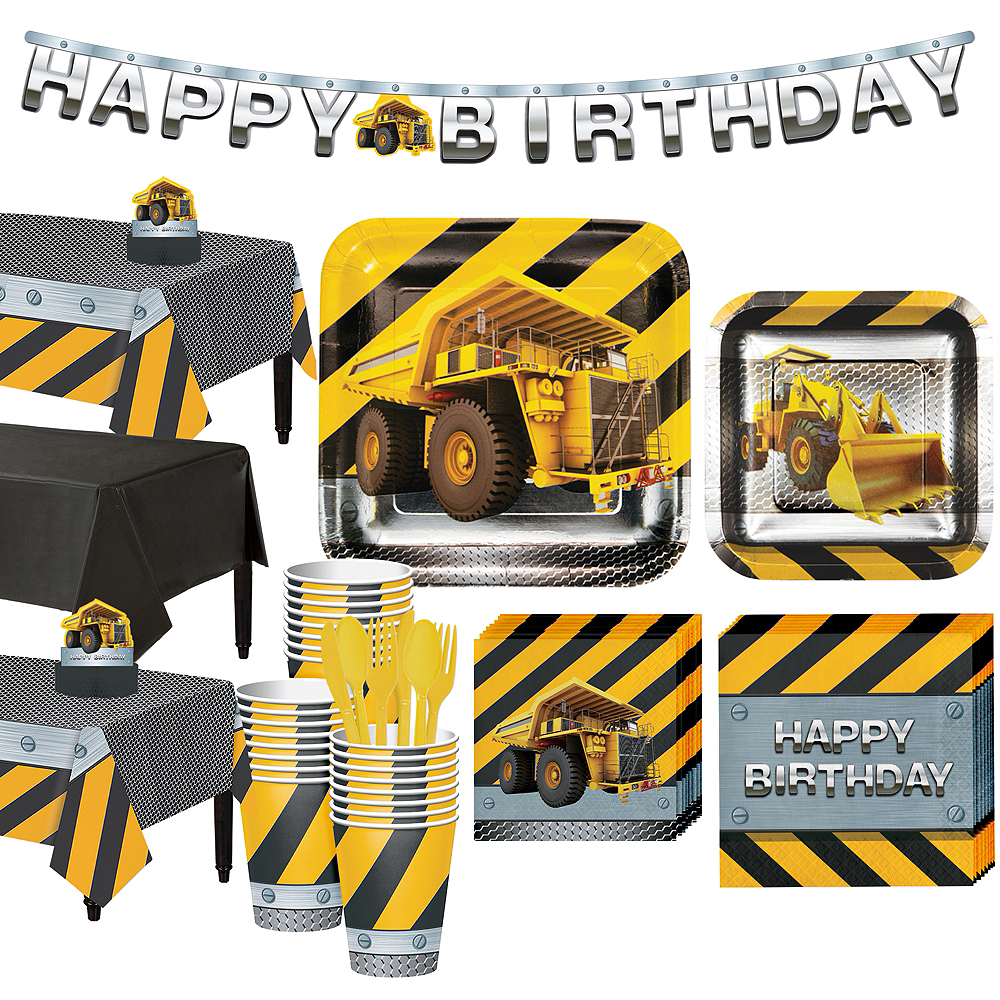 Construction Zone Tableware Party Kit for 24 Guests Image #1