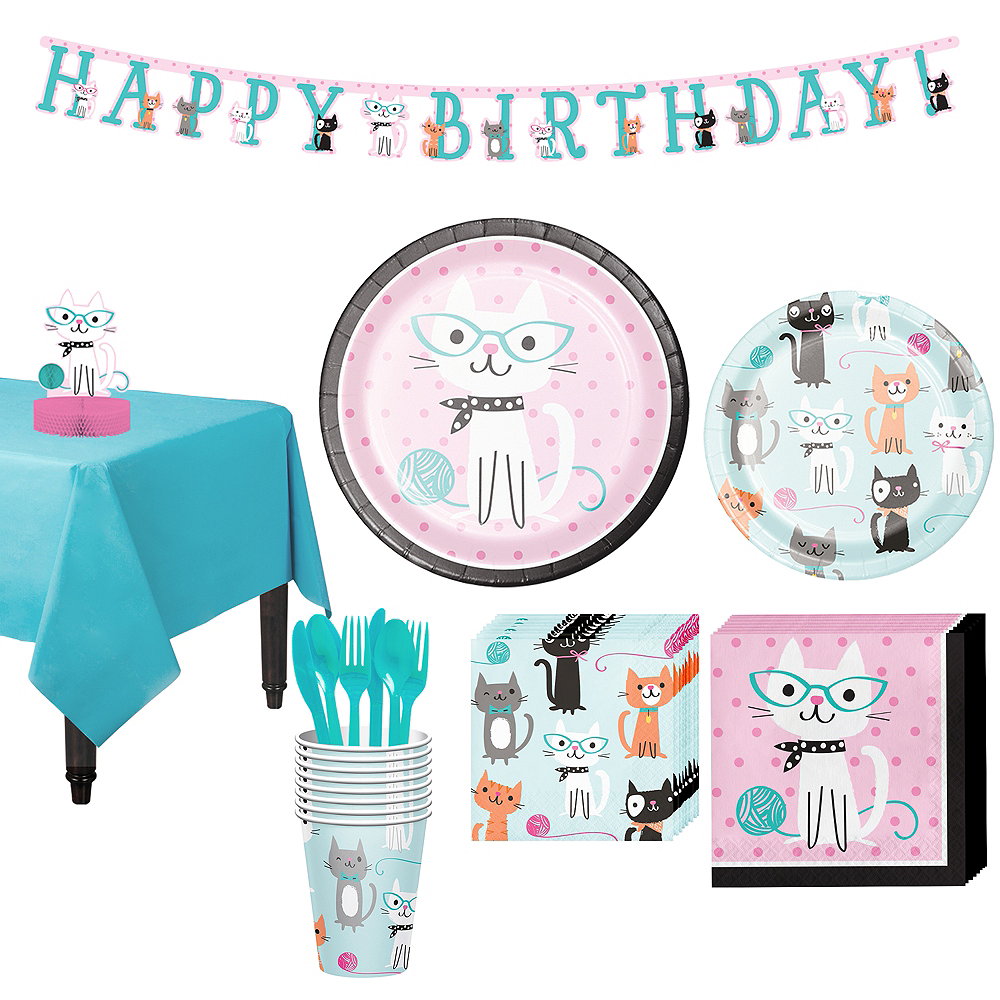 Purrfect Cat Tableware Party Kit for 8 Guests Image #1