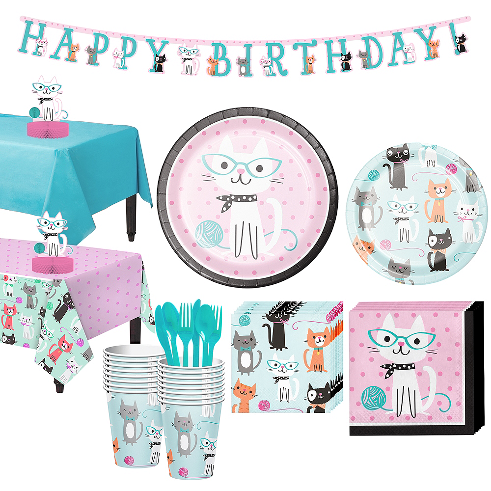Purrfect Cat Tableware Party Kit for 16 Guests Image #1