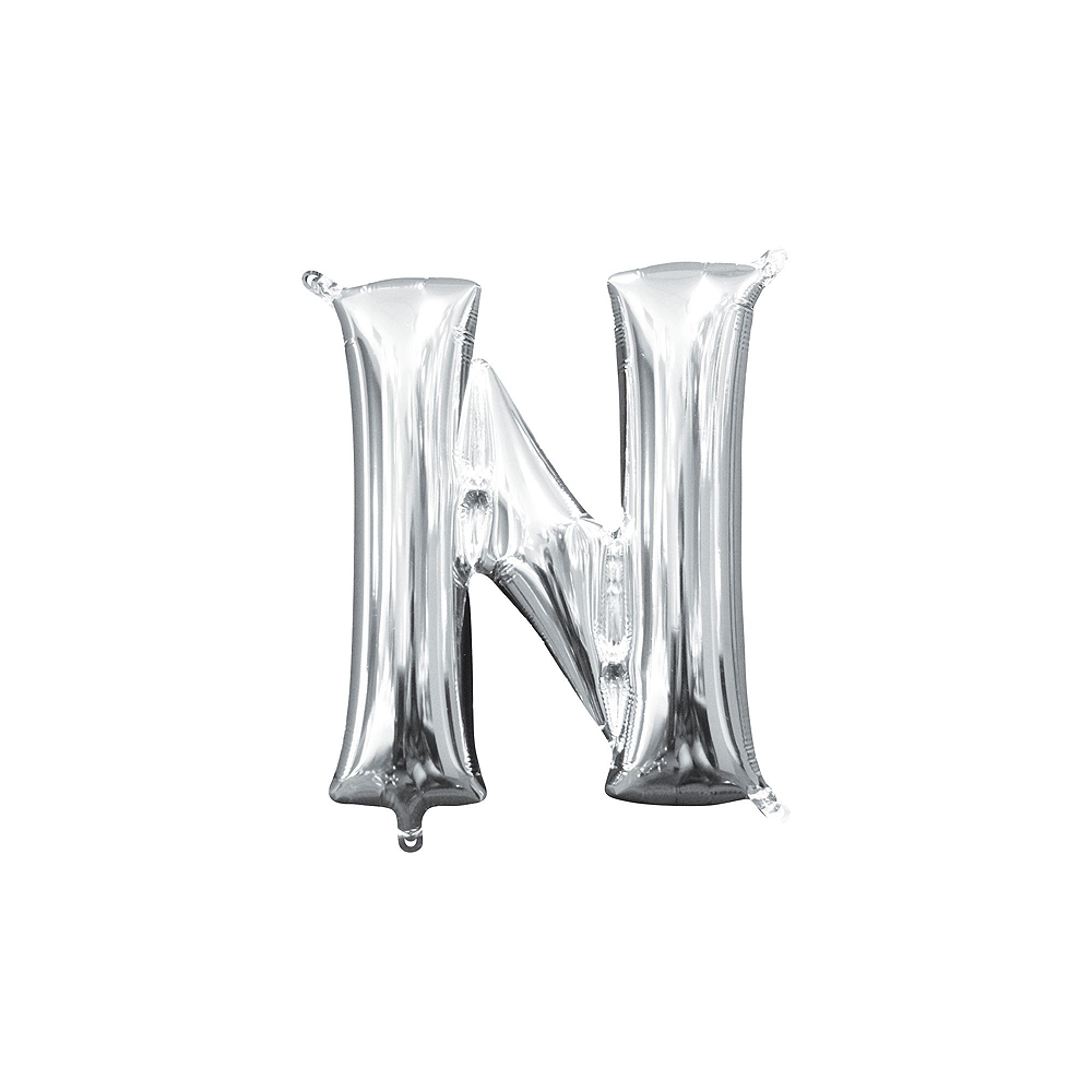13in Air-Filled Silver Candy Letter Balloon Kit Image #4