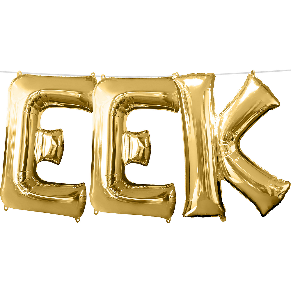 13in Air-Filled Gold Eek Letter Balloon Kit Image #1