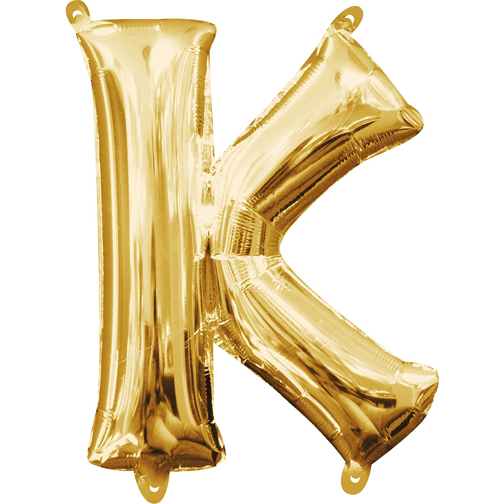 13in Air-Filled Gold Eek Letter Balloon Kit Image #4