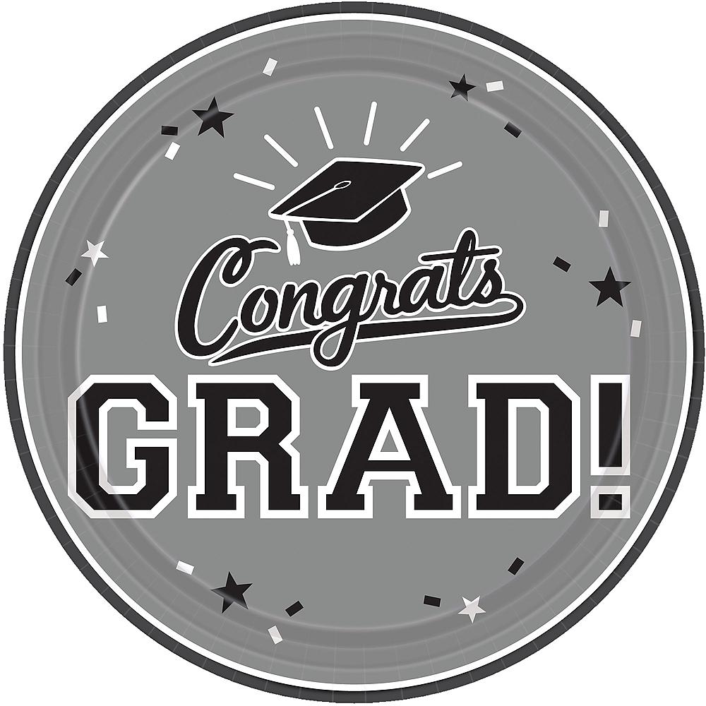Silver Congrats Grad Lunch Plates 18ct Image #1
